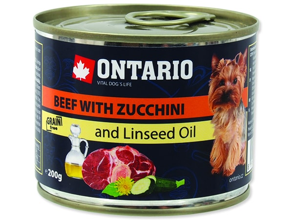 Konzerva ONTARIO Dog Mini Beef, Zucchini, Dandelion and Linseed Oil 200g